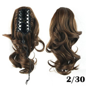 KUPARK 36cm Medium Length Curly Ponytail Claw Clip in/on Synthetic Hair Piece