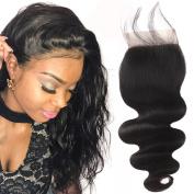 YUSHUO Beauty Brazilian Body Wave Lace Closure 10cm x 10cm Free Part 100% Virgin Human Hair Natural Black