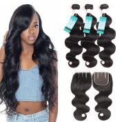 UDU Hair Brazilian Body wave with Closure 3 Bundles Brazilian Virgin Hair with 3 Part Lace Closure 100% Unprocessed Human Hair Bundles