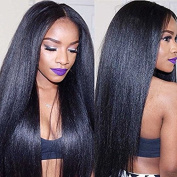 Synthetic Hair Glueless Lace Front Wig Light Yaki Straight Hair Wigs with Baby Hair For African Americans 200% Density Natural Colour 60cm