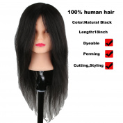 Luxwig Professional 100% Real Hair Training Head for Braiding Mannequin Manikin Doll For College and Professional Use 46cm Natural Black Hair Colour