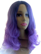 African American Wigs Long Curly Synthetic Fashion Blue Ombre Purple Centre Part
