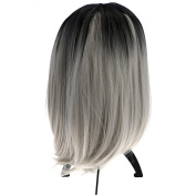 35CM SHORT BOB COSPLAY WIG SYNTHETIC HAIR OMBRE colour BLACK + LIGHTEST grey