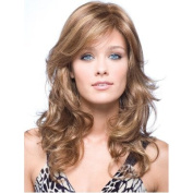 YX Women Sexy Light Gold Long Wavy Wigs Heat Resistant Spiral Natural Wigs