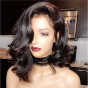 Brazilian Virgin Short Human Hair Lace Front Wigs with Baby Hair Glueless Short Bob Human Hair Wigs Wavy for Black Women
