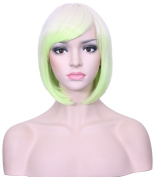 Deifor Short Straight Ombre Cosplay Bob Wigs 25cm Heat Resistant Synthetic Hair for Halloween Party Wigs