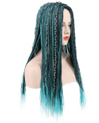 Karlery Women's Long Braided Fake Hair Blue and Black Mixed Wig Halloween Cosplay Wig Anime Costume Party Wig