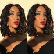Brazilian Glueless lace Front Wig For Black Women 130 density 8A Grade Virgin Short Wavy Lace Front Human Hair Wig