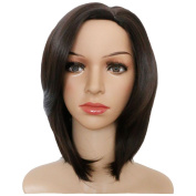 KOLIGHT 28cm Fashion Black-Brown Short Straight Women Girls Replacement Hair Wigs-Free Cap+Comb