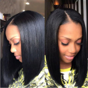 MeiRun Silky Straight Short Bob Wigs Brazilian Virgin Human Hair Wigs Pre Plucked lace Front Wigs Full Lace Human Hair Wigs Natural Black