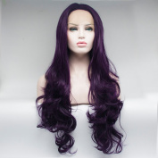 Lanting Body Wave Lace Front Wig Synthetic Natural Full Synthetic Wig Purple Celebrity Synthetic Hair Lace Front Wigs . 50cm
