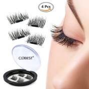 3D Reusable False Magnet Eyelashes, Magnetic Fake Eye Lashes, 1 pair (4 piece) Natural Handmade Extension Fake Eye Lashes - No false eyelashes glue