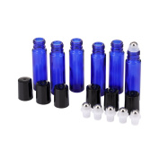 Mild East 6pcs 10ml Blue Glass Essential Oil Empty Bottles with Roller Balls Include Dropper,Bottle Opener,Sticker