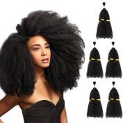 SLEEK 5 Bundles Heat Resistant Afro Kinkys Curly Hair Extensions (33cm x 5, Natural Black) - Afro Twist Braiding Hair - Afro Kinkys Bulk Hair Braiding - Heat Resistant Synthetic Hair Extensions