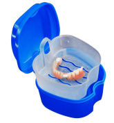 Denture Box Case, Leoy88 Denture Bath Box Case Dental False Teeth Storage Box with Hanging Net Container
