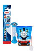 """Thomas & Friends"" 4pc Bright Smile Oral Hygiene Set! Thomas Soft Manual Toothbrush, Brush Cap, Toothpaste, Brushing Timer & Mouthwash Rinse Cup! Plus Bonus ""Remember To Brush"" Visual Aid!"