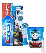 """Thomas & Friends"" 4pc Bright Smile Oral Hygiene Set! Thomas Turbo Powered Spin Toothbrush, Toothpaste, Brushing Timer & Mouthwash Rinse Cup! Plus Bonus ""Remember To Brush"" Visual Aid!"