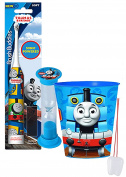 """""""Thomas the Train"""" Inspired 3pc Bright Smile Oral Hygiene Set! Thomas & Friends Turbo Powered Spin Toothbrush, Brushing Timer & Mouthwash Rinse Cup! Plus Bonus """"Remember To Brush"""" Visual Aid!"""