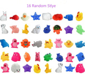 CHENGYIDA 16 Different Lovely Mini Animals Duck Water Toys Colourful Soft Rubber Float Squeeze Sound Squeaky Bath Toy For Baby Kids
