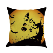 ESAILQ Halloween Funny anf Weird Pumpkin Pattern Multicolor Linen 45cm*45cm Throw Pillow Case Cushion Cover Home Sofa Decoration