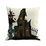 ESAILQ Halloween Strange Scary Printed Linen 45cm*45cm Throw Pillow Case Cushion Cover Home Sofa Decoration