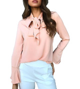 365-Shopping Women's Shirts Long Sleeve Bow Tie Front Chiffon Blouse Tops