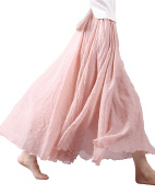 StyleDome Women's Boho Style Elastic Waist Solid Casual Long Maxi Skirt Dress