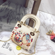 Female Embroidery Portable Small Square Fashion Chain Shoulder Bag Simple Messenger Bag