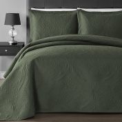 Comfy Bedding Floral Thermal Pressing 3-piece Oversized Coverlet Set Sage Full/Queen
