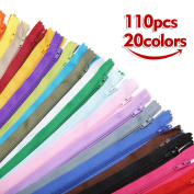 KINGSO 110Pcs 23cm Nylon Invisible Coil Zippers DIY Tailor Sewing Crafting Tools Garment Accessories For Sewing Clothes Cushion Pillow 20colors multi colour