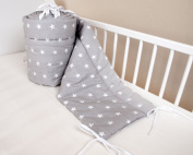 Amilian® Baby Cot Bumper Wrap Around Protection For Baby's Bed With Head Guard 100% hypo-Allergenic 100% Cotton Breathable and non-toxic materials Anti-allergic Star Print Grey Available In 3 Sizes (420 cm x 30 cm) (360 cm 30 cm)