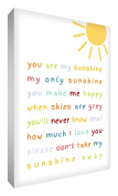 "Little Helper SUN1216-15G Feel Good Art Wall Decoration on a Canvas in a Modern Typographic Style, ""You are my sunshine"", 30 x 20 cm, Multicoloured"