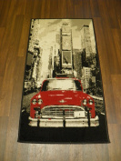 Retro Novelty Woven Backing Mat 60cm x 110cm Approx 4x2 Red American Car