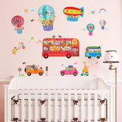 Decowall DA-1610 Animal Bus & Transport Peel and Stick Nursery Kids Wall Stickers Decals