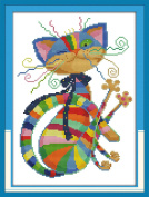 """eGoodn Stamped Cross Stitch Kits Printed Pattern - Colourful Cat 11CT 3 Strands 12.6"""" x 16.5"""", Embroidery Art Cross-Stitching Needlework, Frameless"""