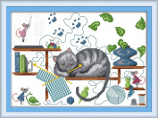 "eGoodn Stamped Cross Stitch Embroidery Kits Printed Pattern - Knitting Cat 11CT 3 Strands 17"" x 13"", Wall Decor Art DIY Cross-Stitching Needlework, No Frame"
