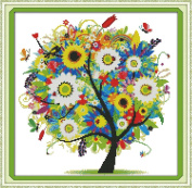 """eGoodn Stamped Cross Stitch Embroidery Kits Printed Pattern - Happy Tree 11CT 3 Strands 18.1"""" x 18.1"""", Cross-Stitching DIY Needlework, Without Frame"""
