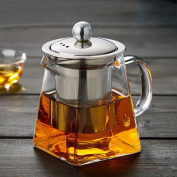 Glass Teapot 300 ml PLUIESOLEIL with Heat Resistant Stainless Steel Infuser Perfect for Tea and Coffee