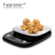 Digital Kitchen Scale Portable Electronic Weighing Cooking Food Scale Hanmir with LCD Display Stainless Steel Accurate Gramme for Home Barking Coffee Black 10Kg/19Lb