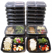 Misc Home [20 Pack] 3 Compartment Meal Prep Containers Bpa Free Portion Control Bento Boxes