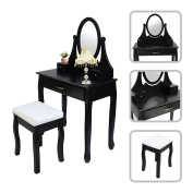 Classic Dressing table set, Make-up table with Mirror and Stool - Black