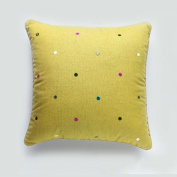 Simple embroidered cushion, office back, sofa cushion, bed back,Yellow dot