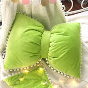 Baozengry Lovely Ball Bow Pillow Washable Bed Sofa Cushion,Pillow (Excluding Blanket) 55X43Cm,Green Suede Bow