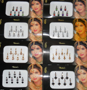 8 Bindi Pack - 56 Bindis Silver, Golden,Black,Multicoloured bindi jewellery Face Jewels bindi crystal
