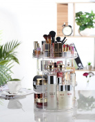360 Degree Rotating Makeup Organiser, AmeiTech Adjustable Jewellery and Cosmetic storage Display case, Compact Size with Large Capacity, Perfect for All Kinds of Cosmetics and Accessories