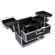 Anself Large Lockable Cosmetic Organiser Box Makeup Case Make Up Containing Storage Box 3-Layers Black