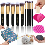 Makeup Brush Set - Makeup Cosmetic Bag, Makeup Remover Cloth Chemical Free, Cleaning Makeup Washing Brush, Konjac Sponges, Bath Shower Sponge Pouffe, 2in1 Makeup Sponge Blender & Powder Puff