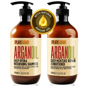 Moroccan Argan Oil Shampoo and Conditioner SLS Sulphate Free Organic Gift Set - Best for Damaged, Dry, Curly or Frizzy Hair - Thickening for Fine / Thin Hair, Safe for Colour and Keratin Treated Hair