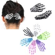 Cuhair 10pcs Fashion Hair Accessories Skeleton Claws Skull Hand Hair Clip Hairpin Zombie Punk Horror Bobby claw Barrette For Women girl
