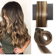 TheFashionWay 21 Colours 70 Grammes - 15 18 20 60cm 7pieces Real Human Hair Extensions Clip in Silky Straight Weft Remy Hair